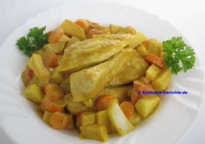 Hähnchen in Kokos-Senf-Curry-Sauce
